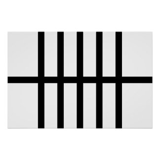 5 Bisected Black Lines Poster