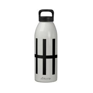 5 Bisected Black Lines Water Bottle