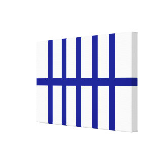 5 Bisected Blue Lines Canvas Print