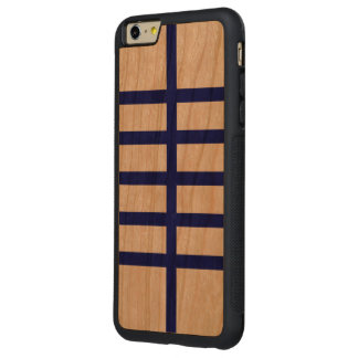 5 Bisected Blue Lines Carved® Cherry iPhone 6 Plus Bumper Case