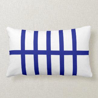 5 Bisected Blue Lines Lumbar Pillow
