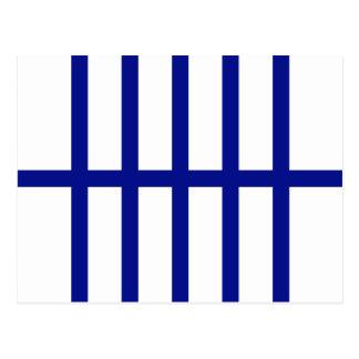 5 Bisected Blue Lines Postcard