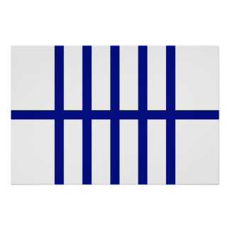 5 Bisected Blue Lines Poster