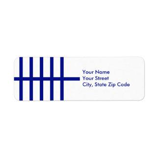 5 Bisected Blue Lines return address label