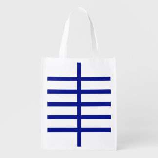 5 Bisected Blue Lines Reusable Grocery Bag