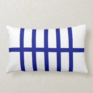 5 Bisected Blue Lines Throw Pillow