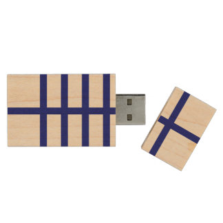 5 Bisected Blue Lines Wood USB Flash Drive