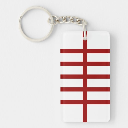 5 Bisected Red Lines Acrylic Key Chain