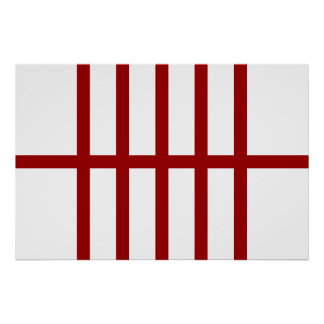 5 Bisected Red Lines Poster