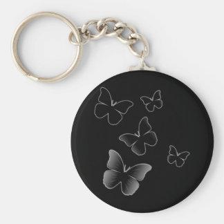 5 Black Butterflies Basic Round Button Keychain