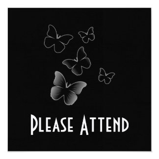 5 Black Butterflies Card