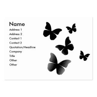 5 Black Butterflies Large Business Card