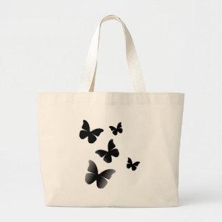 5 Black Butterflies Large Tote Bag
