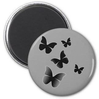 5 Black Butterflies 2 Inch Round Magnet