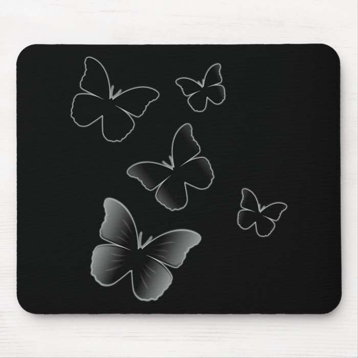 5 Black Butterflies Mouse Pad