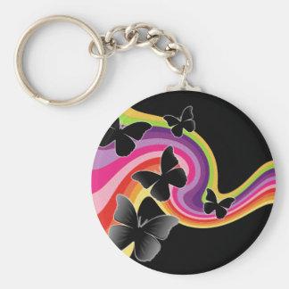 5 Black Butterflies On Swirly Rainbow Basic Round Button Keychain