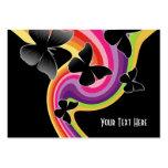5 Black Butterflies On Swirly Rainbow Business Card Templates