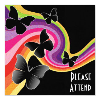 5 Black Butterflies On Swirly Rainbow Card