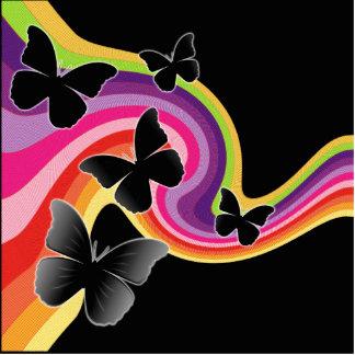 5 Black Butterflies On Swirly Rainbow Cutout