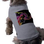 5 Black Butterflies On Swirly Rainbow Dog Shirt