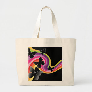 5 Black Butterflies On Swirly Rainbow Large Tote Bag