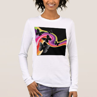 5 Black Butterflies On Swirly Rainbow Long Sleeve T-Shirt