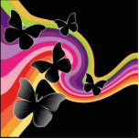 5 Black Butterflies On Swirly Rainbow Photo Cut Out