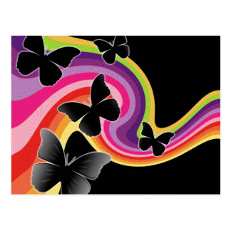 5 Black Butterflies On Swirly Rainbow Postcard