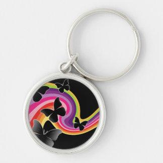 5 Black Butterflies On Swirly Rainbow Silver-Colored Round Keychain