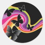 5 Black Butterflies On Swirly Rainbow Sticker