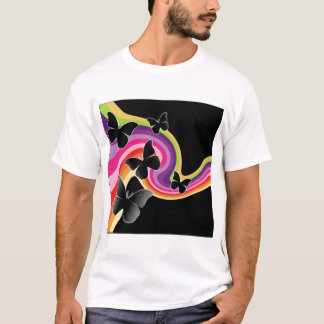 5 Black Butterflies On Swirly Rainbow T-Shirt