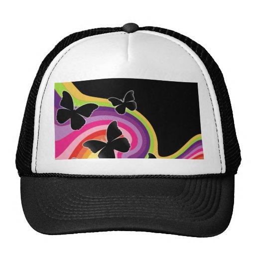 5 Black Butterflies On Swirly Rainbow Trucker Hat