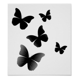 5 Black Butterflies Poster