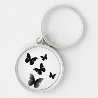 5 Black Butterflies Silver-Colored Round Keychain