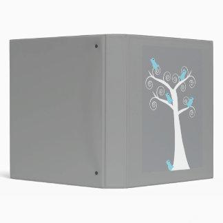 5 Blue Birds in a Tree (Gray) Avery Binder