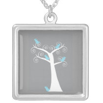 5 Blue Birds in a Tree (Gray Background) Necklace