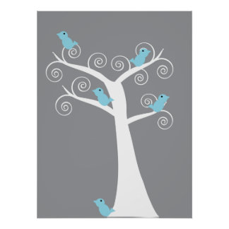 5 Blue Birds in a Tree (Gray Background) Print