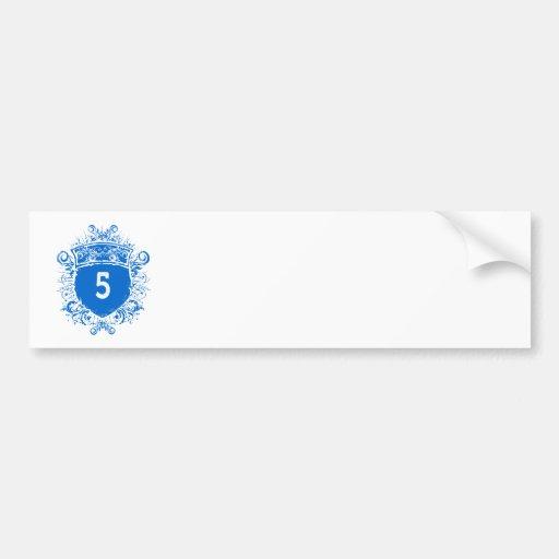 #5 Blue Shield Car Bumper Sticker