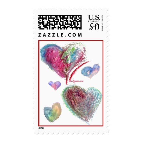 5 Blue Valentine Hearts Postage