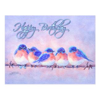 5 BLUEBIRDS en un ALAMBRE y un TEXTO de SHARON SHA Tarjeta Postal
