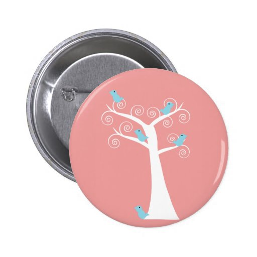 5 Bluebirds in a Tree (pink) Button