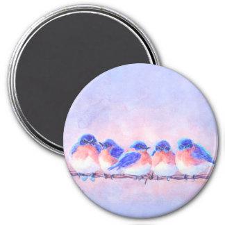 5 BLUEBIRDS on a WIRE by SHARON SHARPE 3 Inch Round Magnet