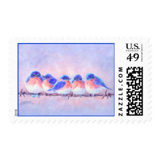 5 BLUEBIRDS on a WIRE by SHARON SHARPE Postage Stamp