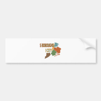 5 Boroughs City Bumper Sticker