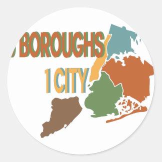 5 Boroughs City Classic Round Sticker