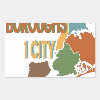 5 Boroughs City Rectangular Sticker