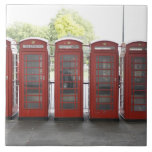 5 cabinas de teléfonos en Londres Azulejo Cuadrado Grande