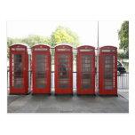 5 cabinas de teléfonos en Londres Tarjeta Postal