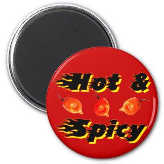 /5 caliente y picante imán redondo 5 cm