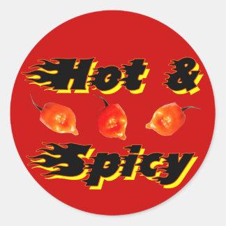 /5 caliente y picante pegatinas redondas